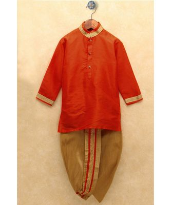 Boys Orange Dhoti Kurta Set