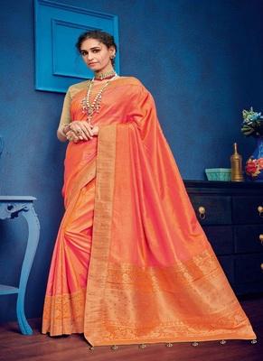 Salmon woven silk blend saree with blouse