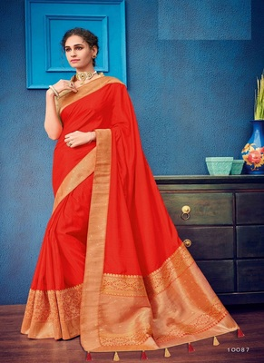 scarlet red woven silk blend saree with blouse