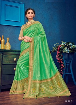 parrot green woven silk blend saree with blouse