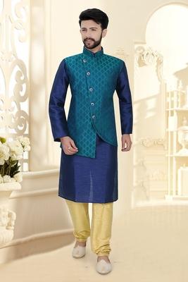 Mens blue kurta set with jacquard woven jacket