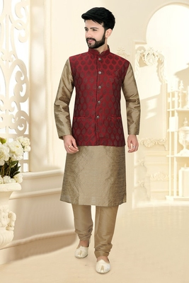 Mens khakhi kurta set with jacquard woven jacket