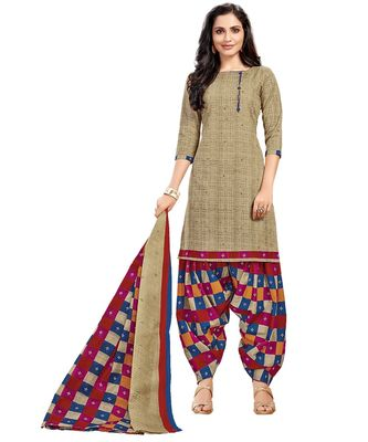 Women's Beige & Maroon Cotton Printed Unstitch Dress Material with Dupatta