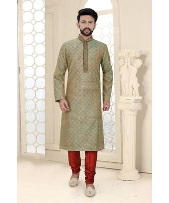 Mens green jacquard kurta set