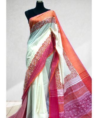 Block Printed Off White Khadi Saree Rai Creations 3070287