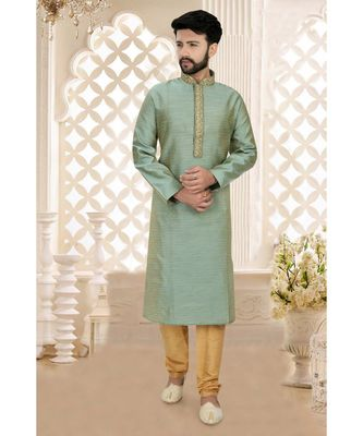 Mens green jacquard kurta set