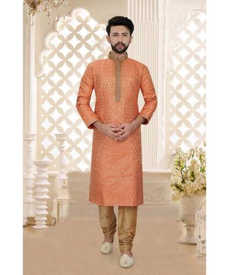 Mens rust  tanchoi  kurta set