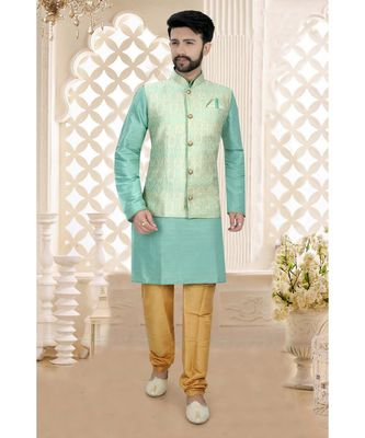Mens green  kurta set woven jacket