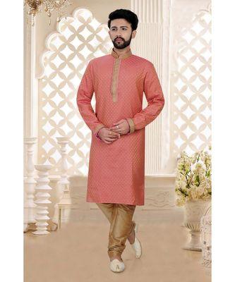 Mens pink jacquard kurta set