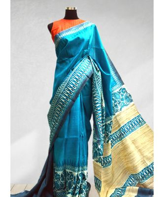 TURQUOISE BLUE COLOR PAINTED PURE SILK SAREE