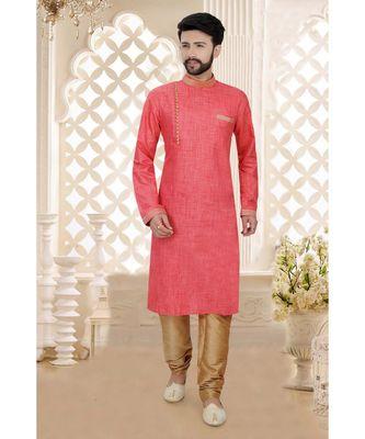Mens pink  cotton slub kurta set