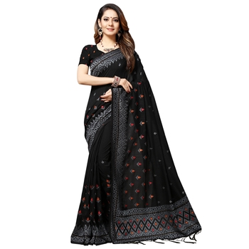 Black embroidered silk blend saree with blouse