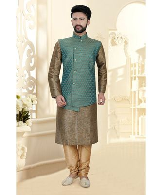 Mens khakhi kurta set with jacquard woven jacket