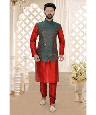 Mens maroon kurta set with bluish maroon brocade woven jacket