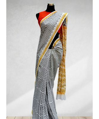 FOSSIL GRAY COLOR ZIGZAG PATTERN TRIBAL DESIGNING MAL COTTON SAREE