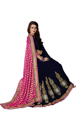 Women's Designer -Embroidery work sari With Blouse piece