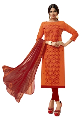 Orange & Red Modal Silk Embroidered Dress Material With Laheria Dupatta