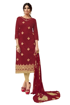 Maroon & Beige Modal Silk Embroidered Dress Material With Laheria Dupatta