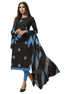 Black embroidered chanderi silk salwar