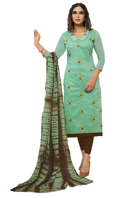 Turquoise & Brown Modal Silk Embroidered Dress Material With Laheria Dupatta
