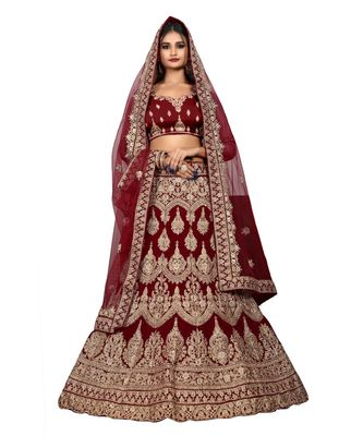 Maroon Velvet Embroidered Lehenga Choli
