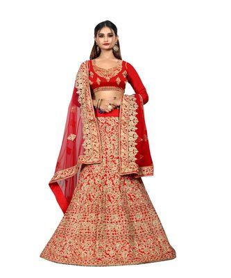Red Naylon Satin Embroidered Lehenga Choli