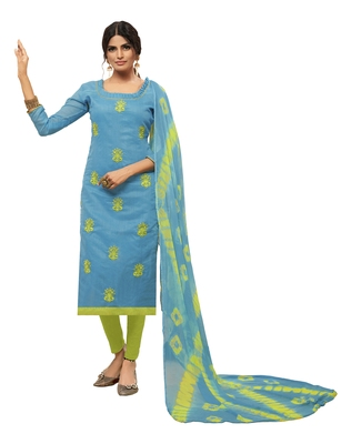 sky Blue & Light Green Modal Silk Embroidered Dress Material With Laheria Dupatta