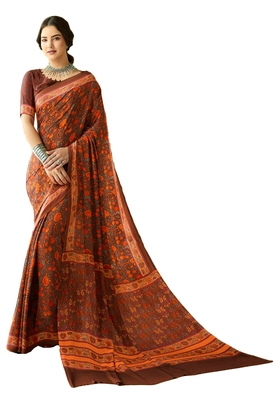 Brown Printed Crepe Saree With Blouse