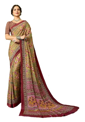 gold Printed crepe saree with blouse