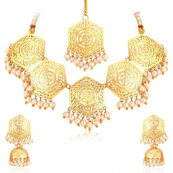 Gold pearl necklace-sets