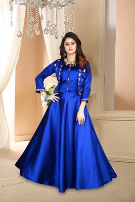 blue embroidered satin party wear gown