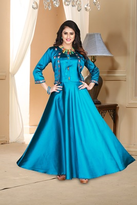 sky party wear gownblue embroidered satin party wear gown