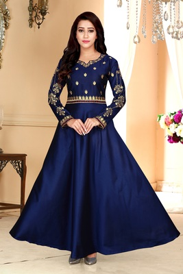 Navy Party Wear Gownblue Embroidered Satin Party Wear Gown