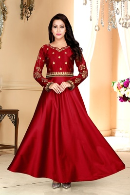 red embroidered satin party wear gown
