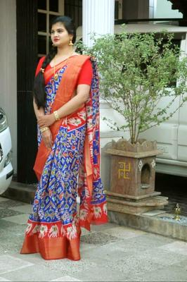 blue printed Pochampally saree with blouse