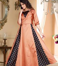 brown embroidered satin party wear gown
