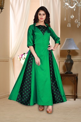 green embroidered satin party wear gown