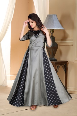 Dark Party Wear Gowngrey Embroidered Satin Party Wear Gown