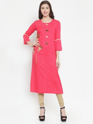Peach plain rayon kurtas-and-kurtis