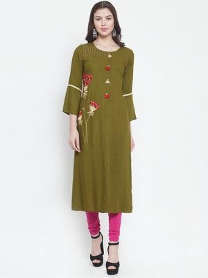 Olive plain rayon kurtas-and-kurtis