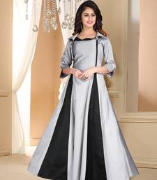 grey embroidered satin party wear gown