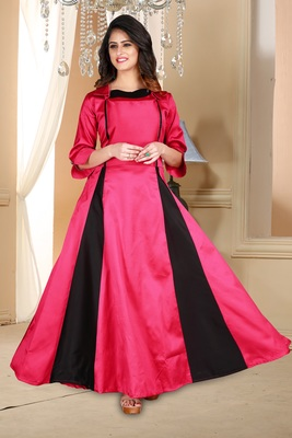 pink embroidered satin party wear gown