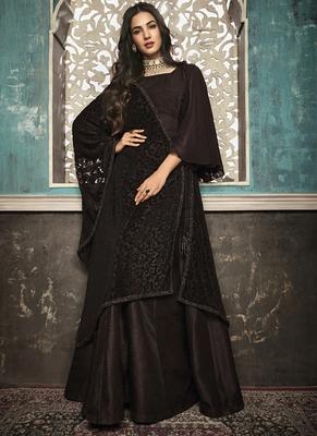 brown embroidered silk blend semi stitched salwar with dupatta