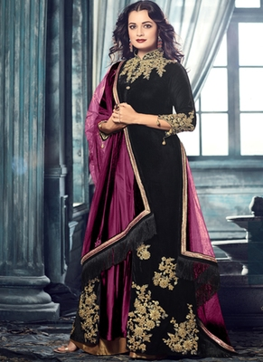 black embroidered velvet semi stitched salwar with dupatta
