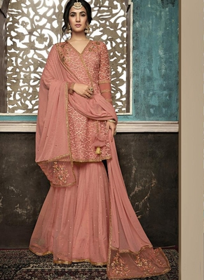 Peach Embroidered Net Semi Stitched Salwar With Dupatta