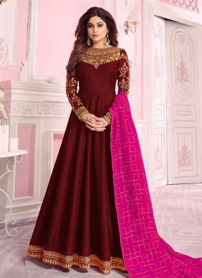 Maroon Embroidered Silk Blend Semi Stitched Salwar With Dupatta