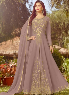 Violet Embroidered Georgette Semi Stitched Salwar With Dupatta