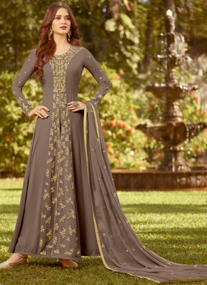 beige embroidered georgette semi stitched salwar with dupatta
