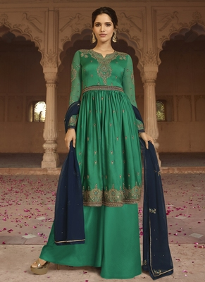 green embroidered georgette semi stitched salwar with dupatta