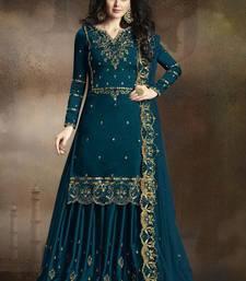 Teal Embroidered Silk Blend Semi Stitched Salwar With Dupatta